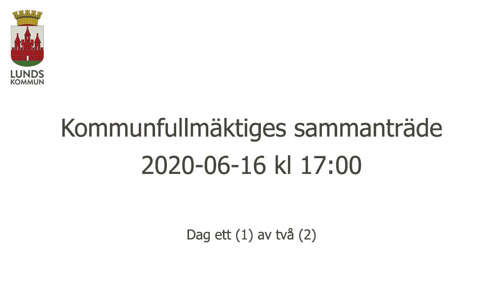 Kommunfullmäktiges sammanträde 2020-06-16