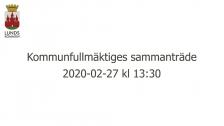 Kommunfullmäktiges sammanträde 2020-02-27